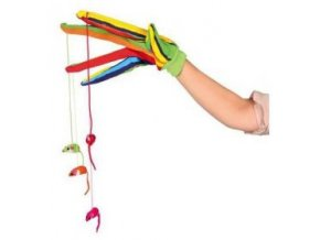 Rukavice barevná s dlouhými prsty a zavěšenými myškami