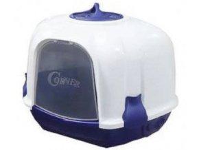 WC kočka Mega Corner 52 x 59,5 x 44,5 cm modro -bílá