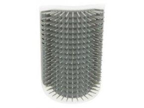 Masážní kartáč k upevnění na roh 8 x 13 cm šedý