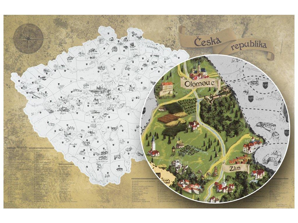 Stříbrná stírací mapa pro turisty detail