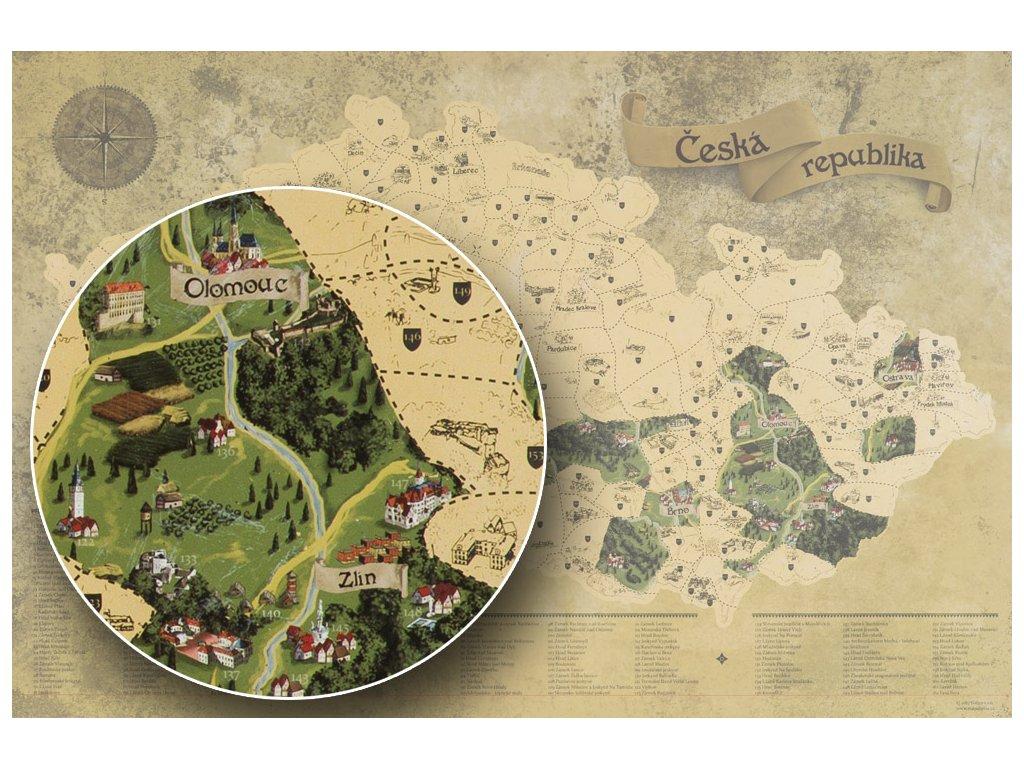 Zlatá stírací mapa pro turisty detail 2