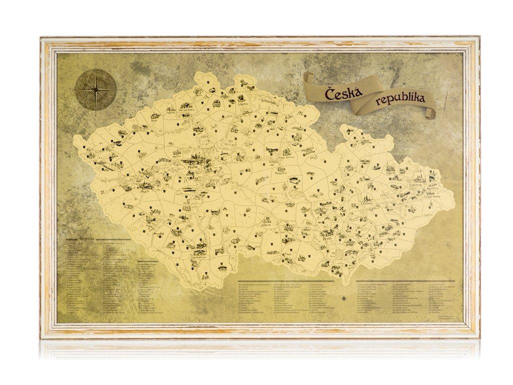 Zlatá stírací mapa pro turisty rám imitace starého rámu