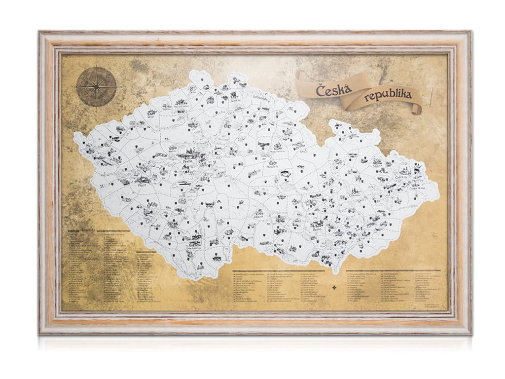 Stříbrná stírací mapa pro turisty rám imitace starého rámu 6311