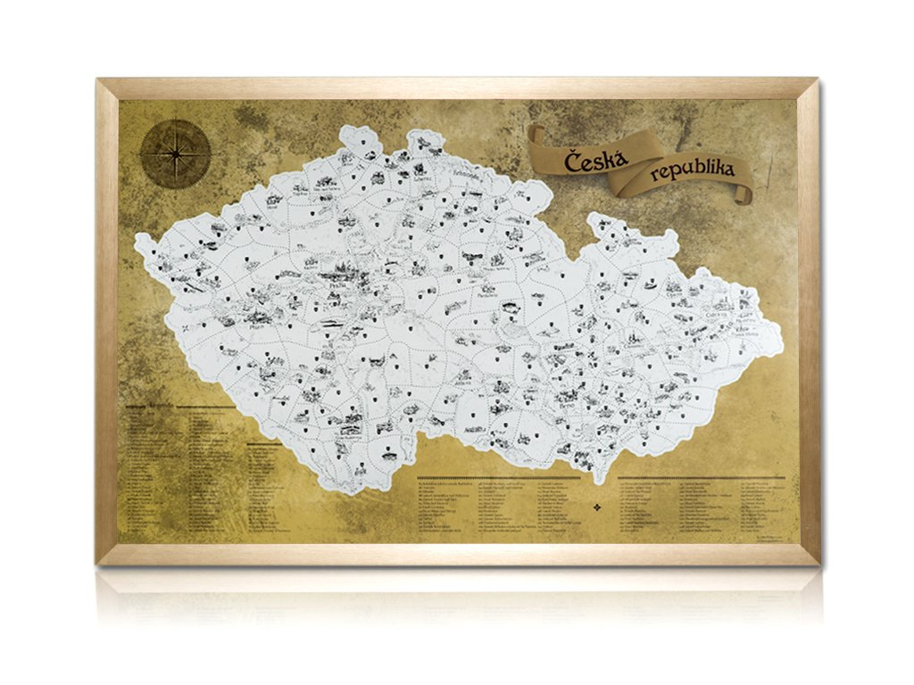 Stříbrná stírací mapa pro turisty + zlatý rám komplet