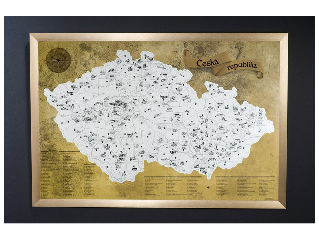 Zlatá stírací mapa pro turisty + zlatý rám komplet