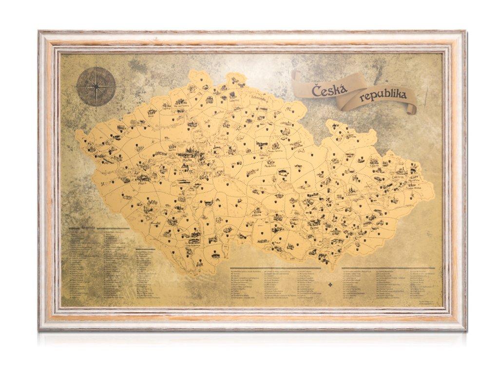 Zlatá stírací mapa pro turisty rám imitace starého rámu 6311