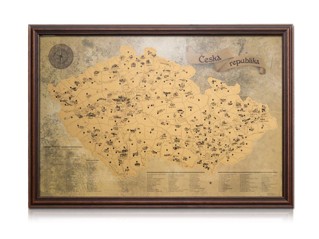 zlatá stírací mapa turistická rám tmavě hnědý