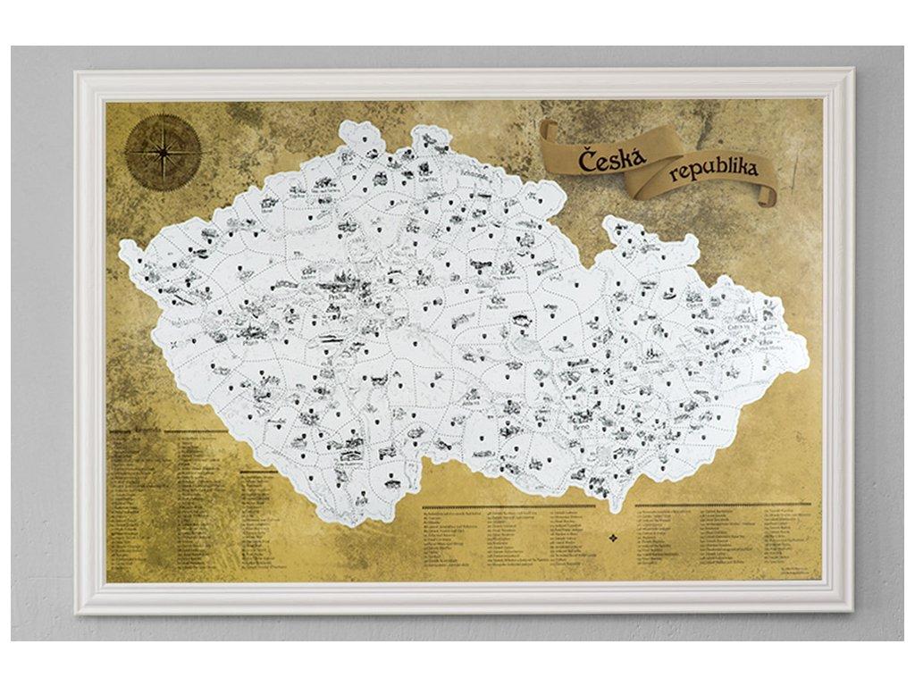 Stříbrná stírací mapa pro turisty bílý rám