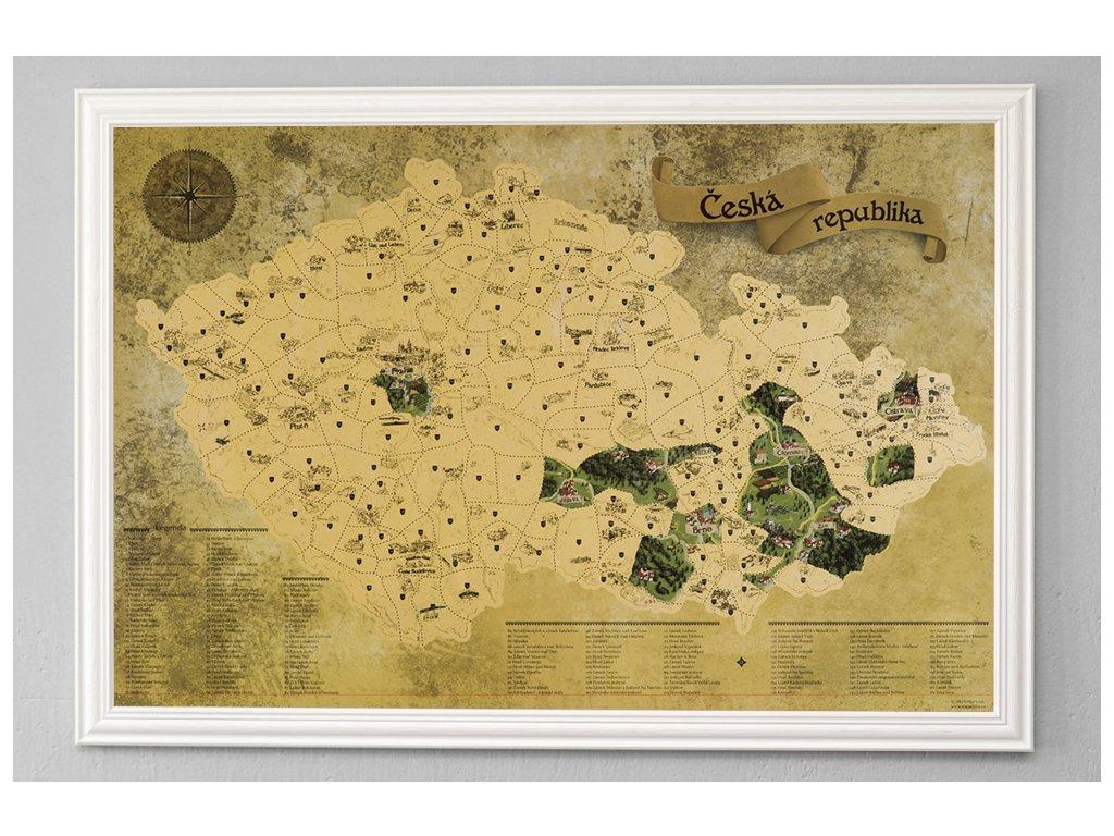 Zlatá stírací mapa pro turisty bílý rám
