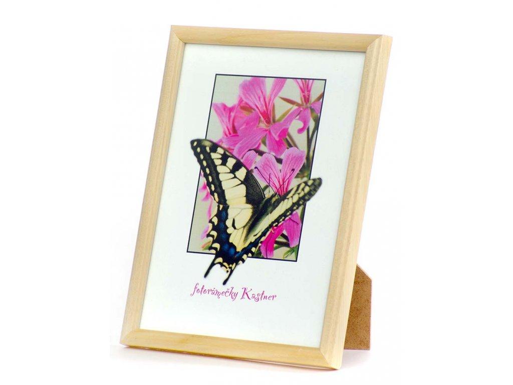 Dřevěný rámeček na foto - tenký, barva borovice přírodní