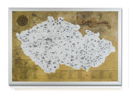turistická mapa čr barevná překrytá stříbrnou stírací barvou + stříbrný rám89806090