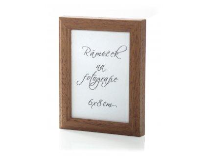 Dřevěný rámeček na foto  - tenký, barva hnědá (Pro rozměr fotografie 6x8)