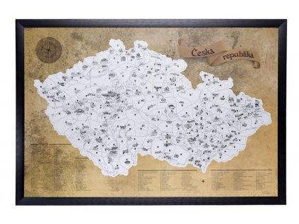 turistická mapa čr barevná překrytá stříbrnou stírací barvou černý rám