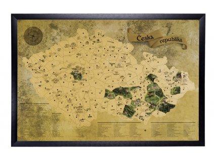 Zlatá stírací mapa pro turisty rám černý široký