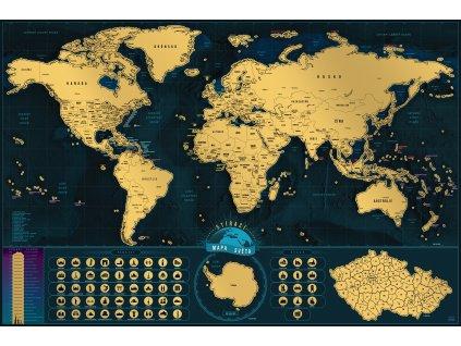 stírací mapa světa 60x90cm