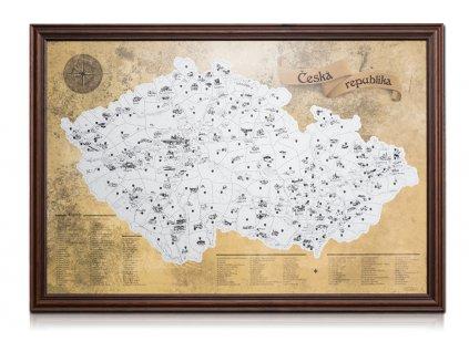 Stříbrná stírací mapa turistická rám tmavě hnědý
