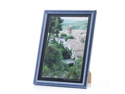 dřevěný rámeček na foto modrý rám