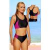 Dámské sportovní plavky dvoudílné P15 černá s růžovou