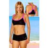 Dámské sportovní plavky dvoudílné s nohavičkou P18 černá s reflexní růžovou