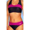 Dámské sportovní plavky dvoudílné P276 černá s tmavě růžovou