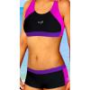 Dámské sportovní plavky dvoudílné s nohavičkou P279 černo-růžovo-fialová