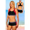 Dámské sportovní plavky dvoudílné s nohavičkou P279 černo-růžová