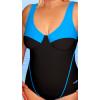 Dámské plavky jednodílné pro plnoštíhlé s kosticemi P39 černo-tyrkysová