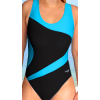 Dámské sportovní plavky jednodílné P611 černá s tyrkysovou