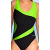 Dámské sportovní plavky jednodílné P611 černá s reflexní zelenou