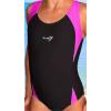 Dívčí sportovní plavky jednodílné PD516 černá s reflexní růžovou