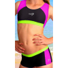 Dívčí sportovní plavky dvoudílné s nohavičkou PD279 černo-růžovo-zelená