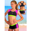 Dívčí sportovní plavky dvoudílné s nohavičkou PD279 černo-tyrkysovo-fialová
