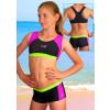Dívčí sportovní plavky dvoudílné s nohavičkou PD279 černo-růžovo-tyrkysová