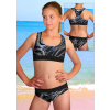 Dívčí sportovní plavky dvoudílné PD541v459 s reflexní růžovou