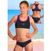 Dívčí sportovní plavky dvoudílné PD543 černá s reflexní zelenou