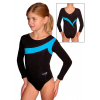 Gymnastický dres B37d-7 černo-tyrkysová