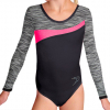 Gymnastický dres S37d-3 černo-šedo-reflexní růžová