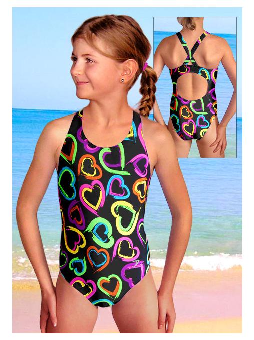 Dívčí sportovní plavky jednodílné PD533v449