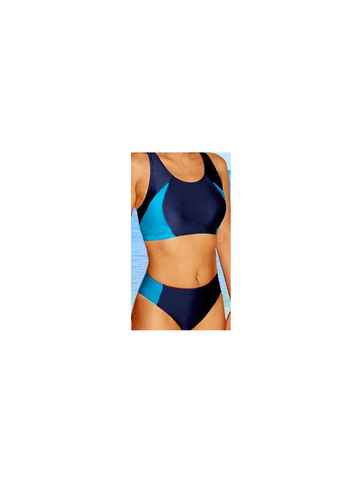 Dámské sportovní plavky dvoudílné P15 tmavě modrá s tyrkysovou