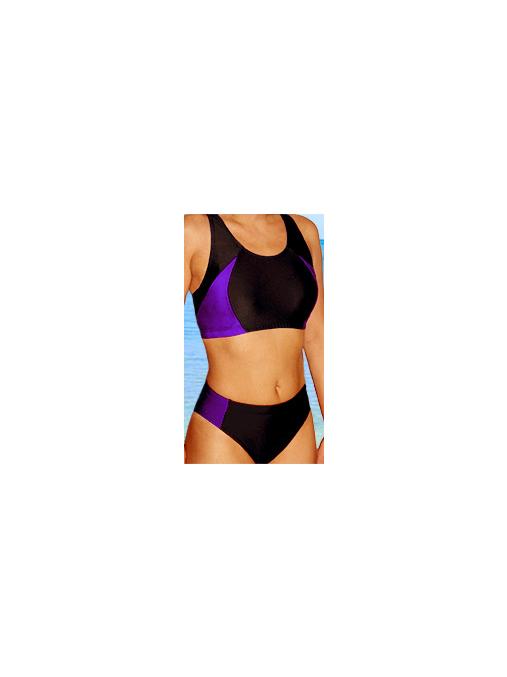 Dámské sportovní plavky dvoudílné P15 černá s fialovou