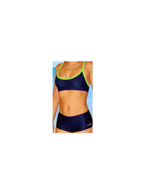 Dámské sportovní plavky dvoudílné s nohavičkou P18 tmavě modrá s reflexní zelenou