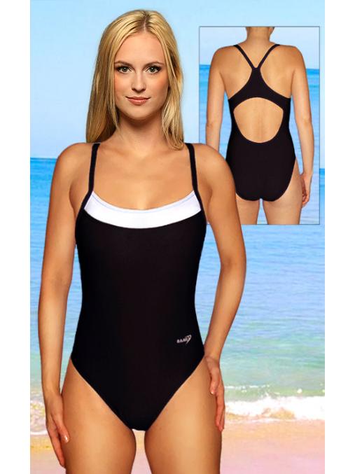Dámské sportovní plavky jednodílné P251 černá s bílou