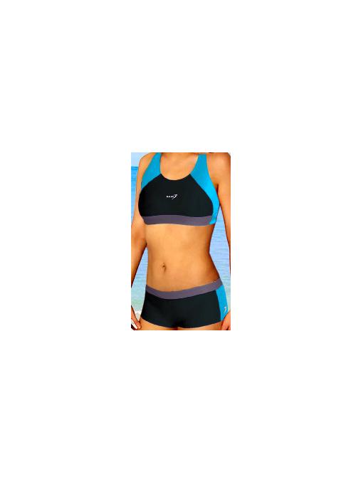 Dámské sportovní plavky dvoudílné s nohavičkou P279 černo-tyrkysová