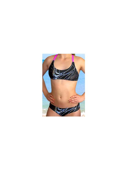 Dámské sportovní plavky dvoudílné P539v459 s reflexní růžovou