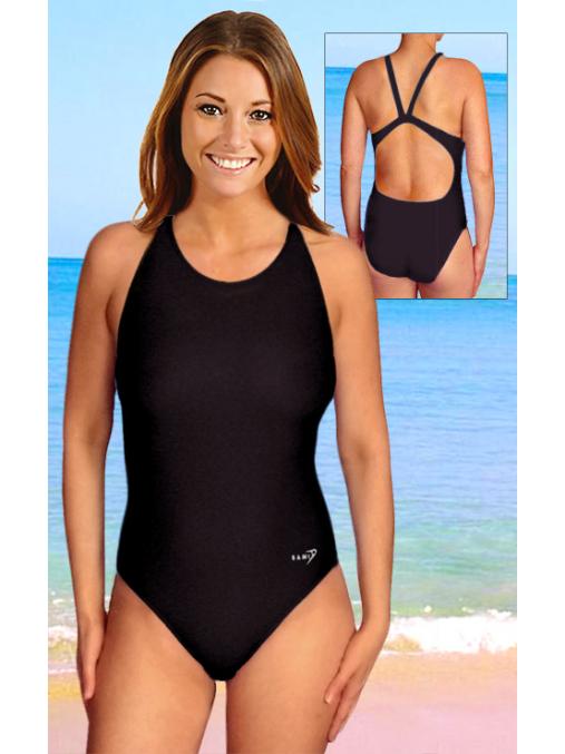 Dámské sportovní plavky jednodílné P620 černá