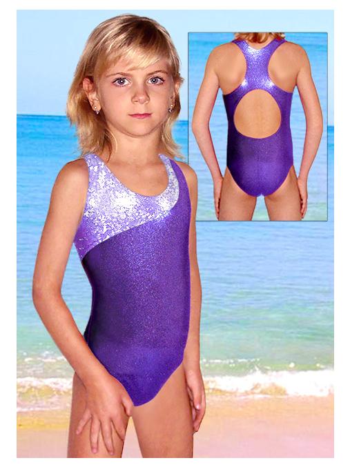 Dívčí sportovní plavky jednodílné PD213sl fialová