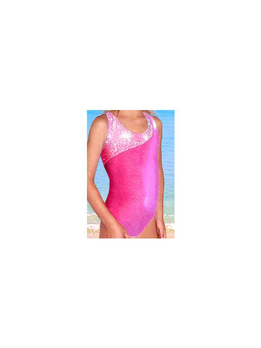 Dívčí sportovní plavky jednodílné PD213sl reflexní růžová