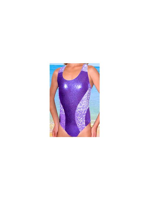 Dívčí sportovní plavky jednodílné PD513sl fialová
