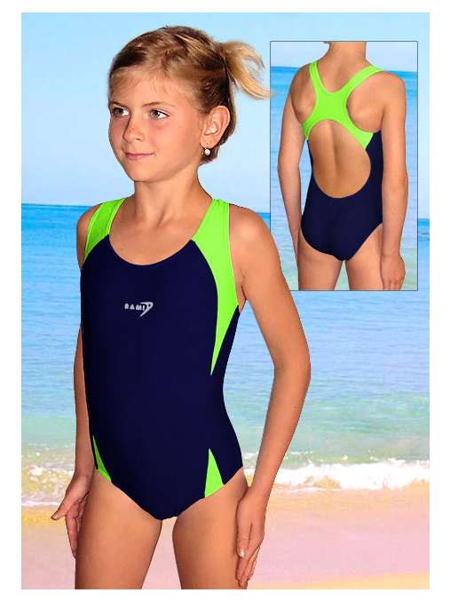 Dívčí sportovní plavky jednodílné PD516 tmavě modrá s reflexní zelenou
