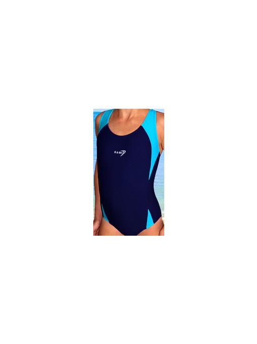 Dívčí sportovní plavky jednodílné PD516 tmavě modrá s tyrkysovou